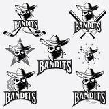 Skull bandit sports labels Stock Photos