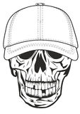 Skull in baseball cap Stock Photo