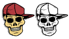 Skull in baseball hat with halftone effect. Design element for e Stock Photos