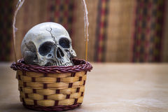 Skull in basket Royalty Free Stock Image