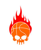 Skull basketball and fire. Ball is head of skeleton. Emblem. For sports fans Royalty Free Stock Photos