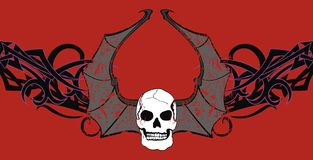 Skull bat wings background2 Royalty Free Stock Photos