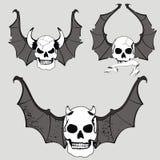 Skull bat wings set rocker style Royalty Free Stock Photo