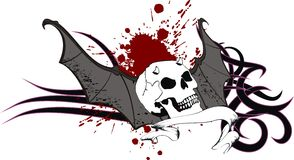 Skull bat wings sticker tattoo crest Royalty Free Stock Images