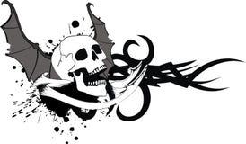 Skull bat wings sticker tattoo crest 2 Stock Photo