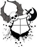 Skull bat wings sticker tattoo shield axe 2 Royalty Free Stock Image