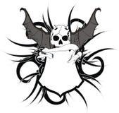 Skull bat wings sticker tattoo shield Royalty Free Stock Photography