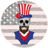 Skull with beard in American Hat, July 4th. Skull with American Hat July 4th Royalty Free Stock Photo