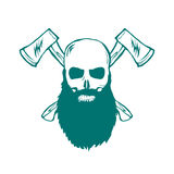 Skull with beard and Crossed Axes Vector Royalty Free Stock Photo