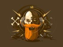 Skull with beard on headphone. Human skull with beard listening to music on headphones. Vector illustration royalty free illustration