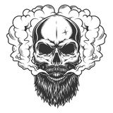 Skull with beard and mustache. In the smoke. Vector illustration royalty free illustration