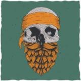 Skull with beard Stock Photography