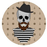 Skull with beard Royalty Free Stock Photography