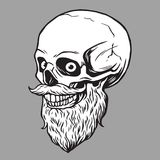 Skull Bearded Hipster Illustration stock illustration