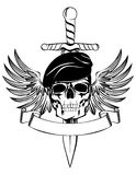Skull in beret. With dagger and wings Vector Illustration