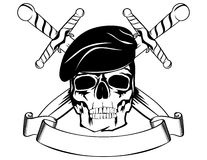 Skull in beret 2. Skull in beret with the crossed daggers Stock Photography