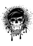 Skull in beret and crossed knives Royalty Free Stock Photography