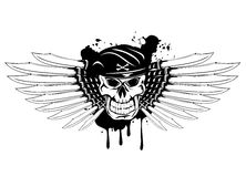 Skull in beret and daggers Royalty Free Stock Photo
