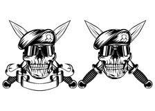 Skull in beret and daggers Stock Image