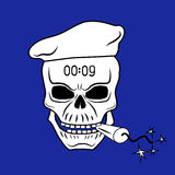 Skull 1. Skull in beret with dynamite in his mouth Royalty Free Stock Photos