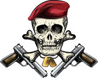 Skull in the beret. Illustration with skull in beret and two pistols drawn in tattoo sketch style stock illustration