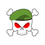Skull in beret military emblem. Army cap and head of skull. Terr. Ible sign for clothing soldiers Stock Photography