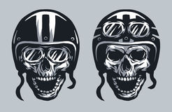 Skull biker in helmet and glasses. Stock Photo