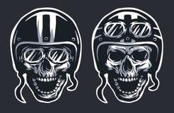 Skull biker in helmet and glasses. Royalty Free Stock Photos