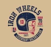 Motor skull. Vintage design biker. Royalty Free Stock Photo