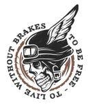 Skull biker helmet with wings. Stock Photography