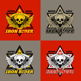 Skull biker. Iron Rider. Print for T-shirts and apparel. Royalty Free Stock Image