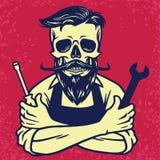 Skull Biker Mechanic Vector Design royalty free illustration