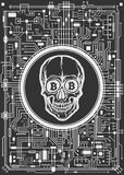 Skull with bitcoin symbols Stock Image