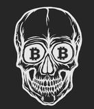 Skull with bitcoin symbols Royalty Free Stock Photography