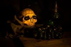 Skull and black grape Royalty Free Stock Photo