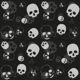 Skull - black and grey background. Skull - black and grey pattern. Vector dark horror textile background Vector Illustration