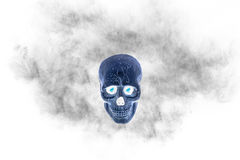 Skull with black smoke on white background, filter effect Royalty Free Stock Photos