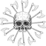 Skull and black sun Stock Photos