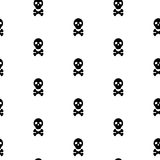 Skull black and white continuous vector pattern. Royalty Free Stock Images