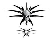 Skull & blades. Vector illustration of a skull with blades Stock Photos
