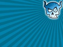 Skull blue background. Skull sun blue background with abstract rays Royalty Free Stock Photos