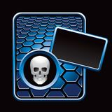 Skull on blue hexagon advertisement Royalty Free Stock Images