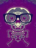 Skull and bone with blue glasses. And purple background Royalty Free Stock Photo