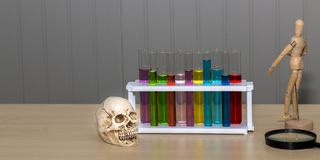 Skull bone ,color of test tube,human wood model and magnifying. Glass on table.Copy space and science concept royalty free stock photos