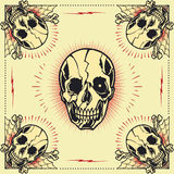 Skull bone cross Frame. In old school tattoo style set 08. You guys can edit all the colors by yourself vector illustration