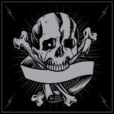 Skull Bone cross and Ribbon. Skulls Old school Tattoo Style. Vector for Use vector illustration