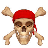 Skull with bone and red scarf Royalty Free Stock Photos
