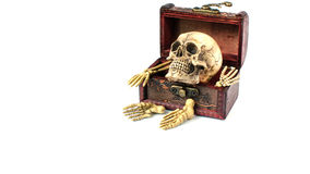 Skull and bone in vintage wooden box. On white background royalty free stock photography
