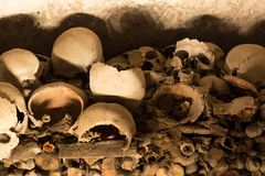 Skull and bones. In ancient ossuary, Naples stock photography