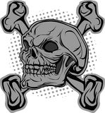Skull and bones in background halftone Royalty Free Stock Photography